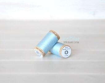 Organic Cotton Thread GOTS - 300 Yards Wooden Spool  - Thread Color Ice Blue - No. 4814 - Eco Friendly Thread - 100% Organic Cotton Thread