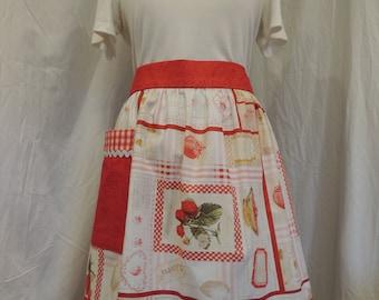 Charming vintage-inspired strawberry print half apron