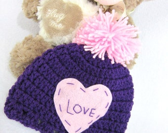 Purple Baby Hat Valentine's Day Cap MADE TO ORDER, Purple and Pink Pom Pom Hat, Photo Prop, Pink Heart Love