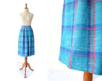1960s Skirt blue skirt 60s Skirt Turquoise Skirt Plaid Skirt womens skirt, womens clothing, vintage clothin