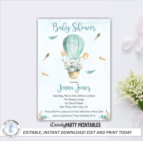 Blue Bunny Baby Shower Invitation Template Bunny Baby Shower