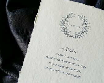 Crown Wreath Menu Cards with Modern Calligraphy on Indie Handmade Paper