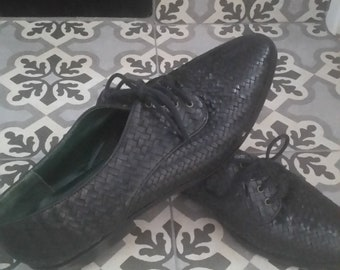 80s 90s Basketweave black leather oxfords 8