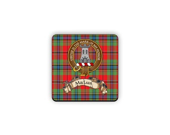 MacLean Scottish Clan Tartan Motto Crest Rubber Coaster