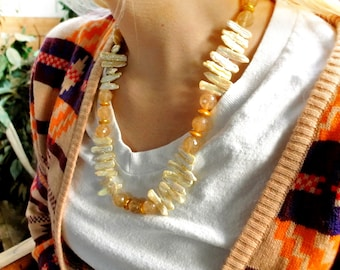 freshwater pearls, quartz, hand knotted, gold filled toggle clasp, necklace N35