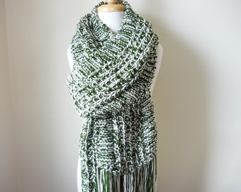 "Extra Extra Long Scarf Knit Scarf With Fringe Warm Winter Mens Womens Scarf Green/Off White  10"" x 96""-Reversible-Ready to Ship"