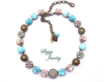 Swarovski Crystal Necklace, Vintage Rose, Turquoise, Flower Embellished, Parisian Victorian Style, Vintage Inspired, Antique Brass Chain