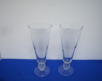 """Beautiful Morgantown Glass, Golf Ball Pilsner's, Two Clear Glass Pilsners, Great Condition, 9.25"""" Tall"""