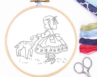 Embroidery Pattern Design Hand PDF VIntage Reproduction Transfer Hoop Art Mary Had A Little Lamb