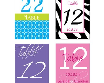 1-36 Table Numbers Wine Bottle Labels - many designs to choose from -  change design to any color, size, etc