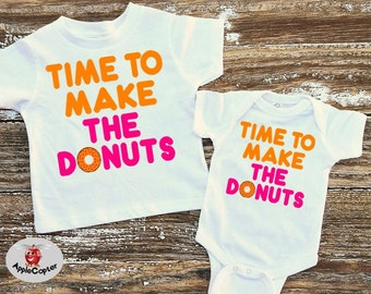 Donut Party Shirt, Baby Donut Shirt, Time To Make The Donuts, Kids Donut Shirt, Pink Donuts, Donut Themed Party Gift, Bodysuit, AppleCopter