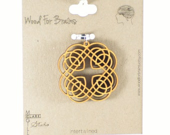 "Laser Cut Wooden Pendant - ""Intertwined"""