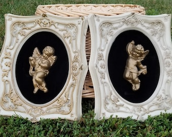 Cherub wall hangings -2 - in antique white and gold with velvet background