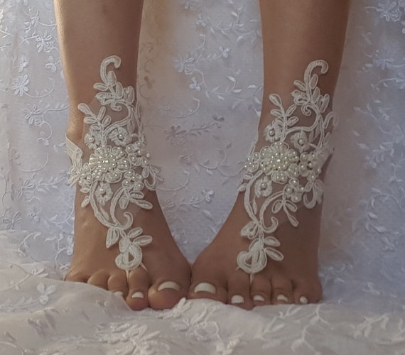 White or ivory Beach wedding barefoot sandals Ivory Barefoot, gift idea, bridal barefoot sandals