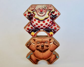 Vintage Set of 2 1950's Wooden 2 sided Clown and Bear Stacking/Building Toys!