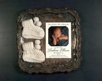 Photo Birth Announcement Digitally Printed   Photo Adoption Announcement   Personalized Photo Announcement   LARGE Announcement
