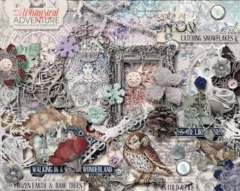 Snow Queen, Winter Wonderland, Instant Download, Digital Scrapbook Elements, Silver Glitter, Fairytale, Vintage Reindeer, Owl, Snowflakes