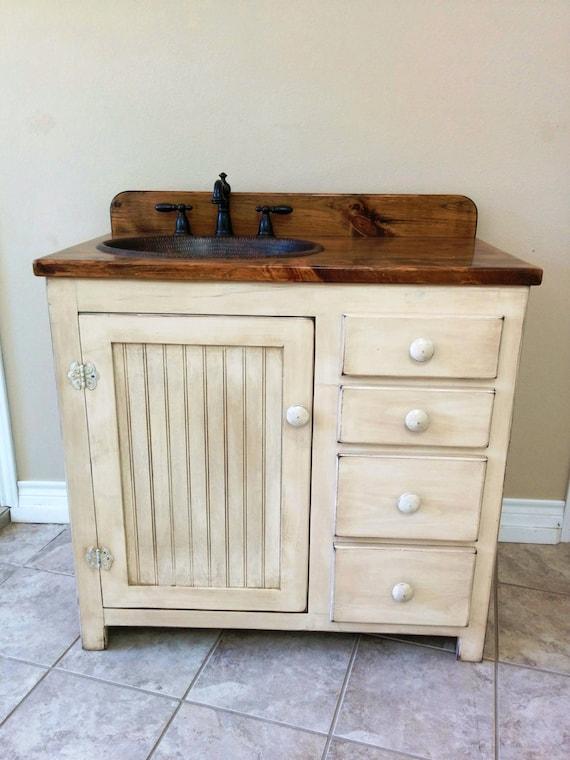 "Bathroom Vanity - 36"" - Rustic Farmhouse Bathroom Vanity - FH1297-36L - Bathroom Vanity w/ Drawers - Rustic Bathroom Vanity - Copper Sink"