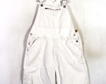 vtg 80s 90s No Excuses ladies White Denim Jean Overalls Shorts grunge hip hop L