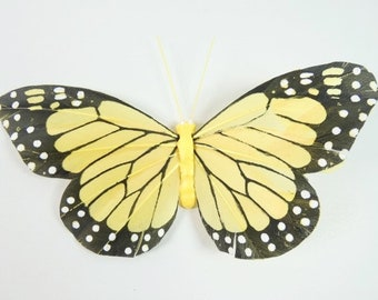 Yellow Monarch Butterfly 6.2 Inches Feather Butterfly Butterfly Embellishments Cake Topper