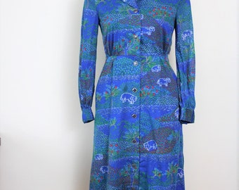 70s Shirtdress, Blue vintage Long sleeve Day dress, Small Med 4285