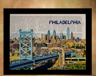 SALE--ships May 29-- Philadelphia Skyline Dictionary Art Print Philly Skyline Poster Wall Art Pennsylvania Home Decor Gift Ideas da1146