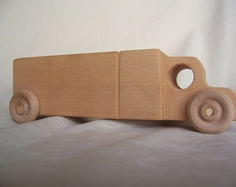 Long Haul Toy Truck Handmade from Upcycled Wood for the Kids, Children