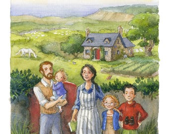 Family Farm - Illustration Art Print, Countryside, Farmland, Summer, Landscape, Cottage, Coast, Agrarian, Portrait, Children, Garden, Horse