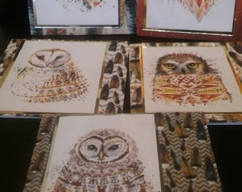 owl notelets-owl themed blank cards-thankyou/just because owl themed cards pack of 5, set of 5 blank inside cards