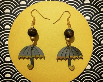 Wooden umbrella earrings