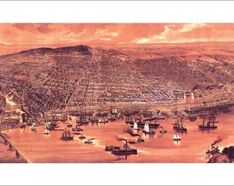 """Montreal Quebec in 1889 Panoramic Bird's Eye View Map by J. L. Wiseman 22x13"""" Reproduction"""