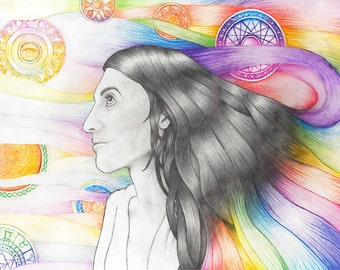 Irene, Pencil and Watercolour Psychedelic Drawing Limited Edition Signed Print