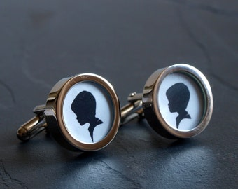 Silhouette Cufflinks of Your Son or Daughter,  can be made in any colour