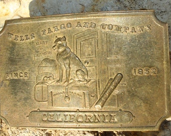 Wells Fargo and Company California Vintage Brass Belt Buckle Part of the Tiffany Belt Buckle Hoax