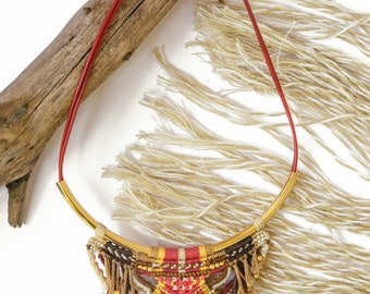 Viking Macrame Necklace, handmade, wild jewelry, tribal, boho, Native american jewelry,statement jewelry, necklaces for women, frings, pink