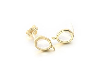 Opal Glass Post Earring . Earring Component . 925 Sterling Silver Post . Polished Gold Plated over Brass  / 2 Pcs - CG048-PG-OP