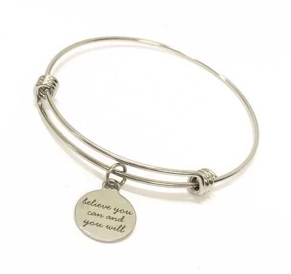 Motivational Jewelry Gift, Believe You Can And You Will Stacking Bangle, Motivational Gift For Her, Jewelry Gift For Daughter, Encouragement