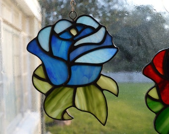 Blue Rose Art Glass Suncatcher
