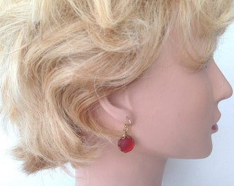 Red German glass soft glow lacy wire wrapped earrings