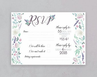 Rustic blooms RSVP- wedding stationery set- Wedding RSVPs- Floral wedding Invites- Wedding invitations- watercolour