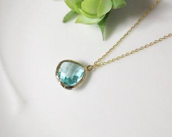 Aquamarine necklace, stone in bezel, sky blue, wedding, B0060-G, gold plating