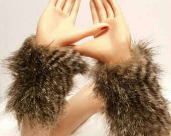 Faux Fur Arm Warmers: Stripe Fur, Soft Bunny, Frosty Forest Green Variety Faux Fur Arm Warmers