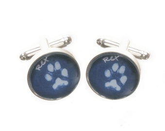 Glass Dog or Cat Paw Print Cufflinks - Displays Actual Paw Prints of Your Dog or Cat -  Print Taking Kit Is Supplied