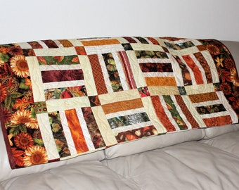 Autumn Leaves Lap Quilt or Sofa Throw in Brown, Rust and Green, Sunflowers Quilted Throw for Fall, Quiltsy Handmade Patchwork Blanket