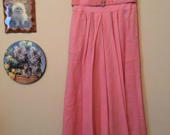 70s Kasper Saks Fifth Avenue Coral Belted Skirt
