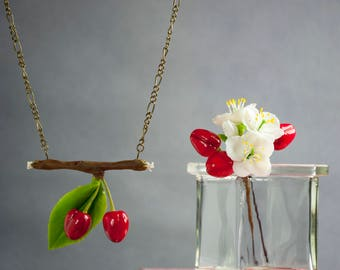 Cherry necklace Cherry pendant Cherry jewelry accessories Red necklace Girls jewelry Berry necklace jewelry Flower jewellery Floral necklace