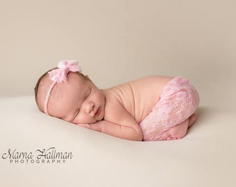 Newborn Pink Lace Stretch Leggings and Headband Outfit Costume Set Photography Photo Prop Baby