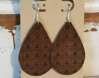 Leather Earrings, Leather Jewelry, Natural Brown, Embossed, Basket Weave, Western, Tear Drop, Statement Earrings, Lightweight