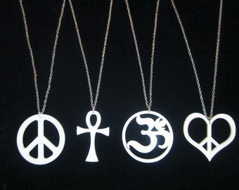 4 Symbol Necklaces Large 2 and a Quarter inch Cosmic Pendants Laser Cut White Acrylic PEACE SIGN, Ankh, Ohm, and HEART Peace - Each on a 24 inch Silver Plated Chain