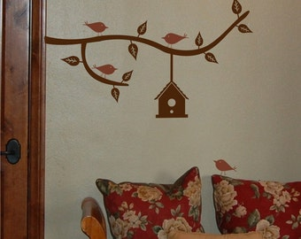 Branch with Birdhouse Small - Vinyl Wall Decal